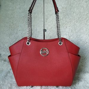 NWT Michael Kors JS LG chain tote red MK bag purse